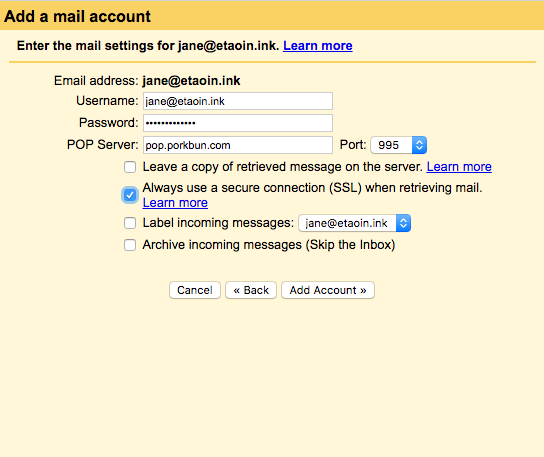 How to set up your email address in Gmail - Porkbun