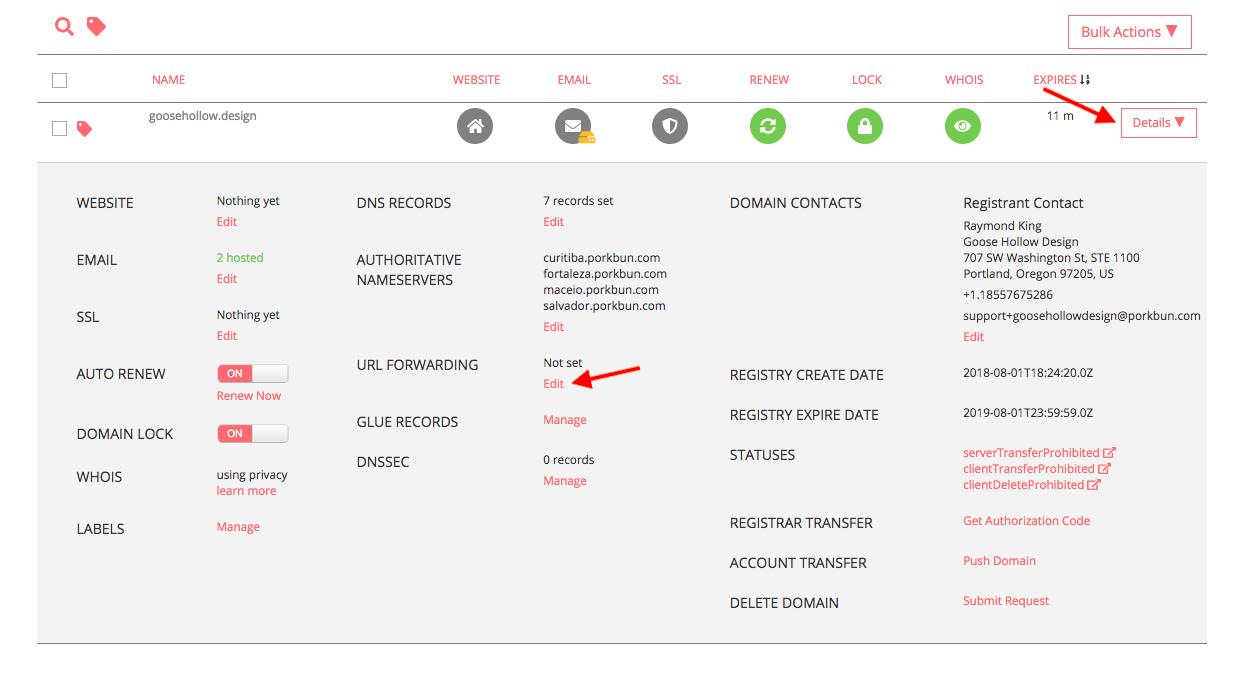 How to set up URL forwarding - Porkbun Knowledge Base