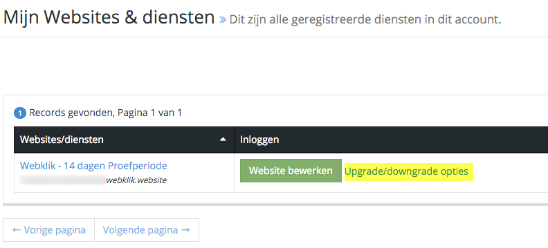 "Klik op de link  met ""Upgrade/downgrade opties"""