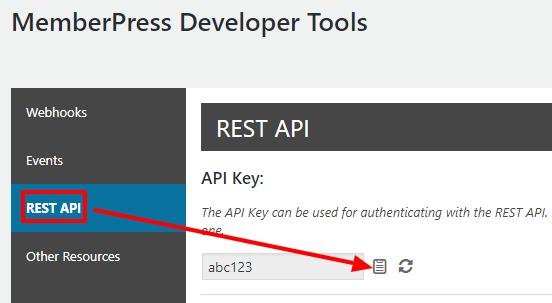 MemberPress REST API Key