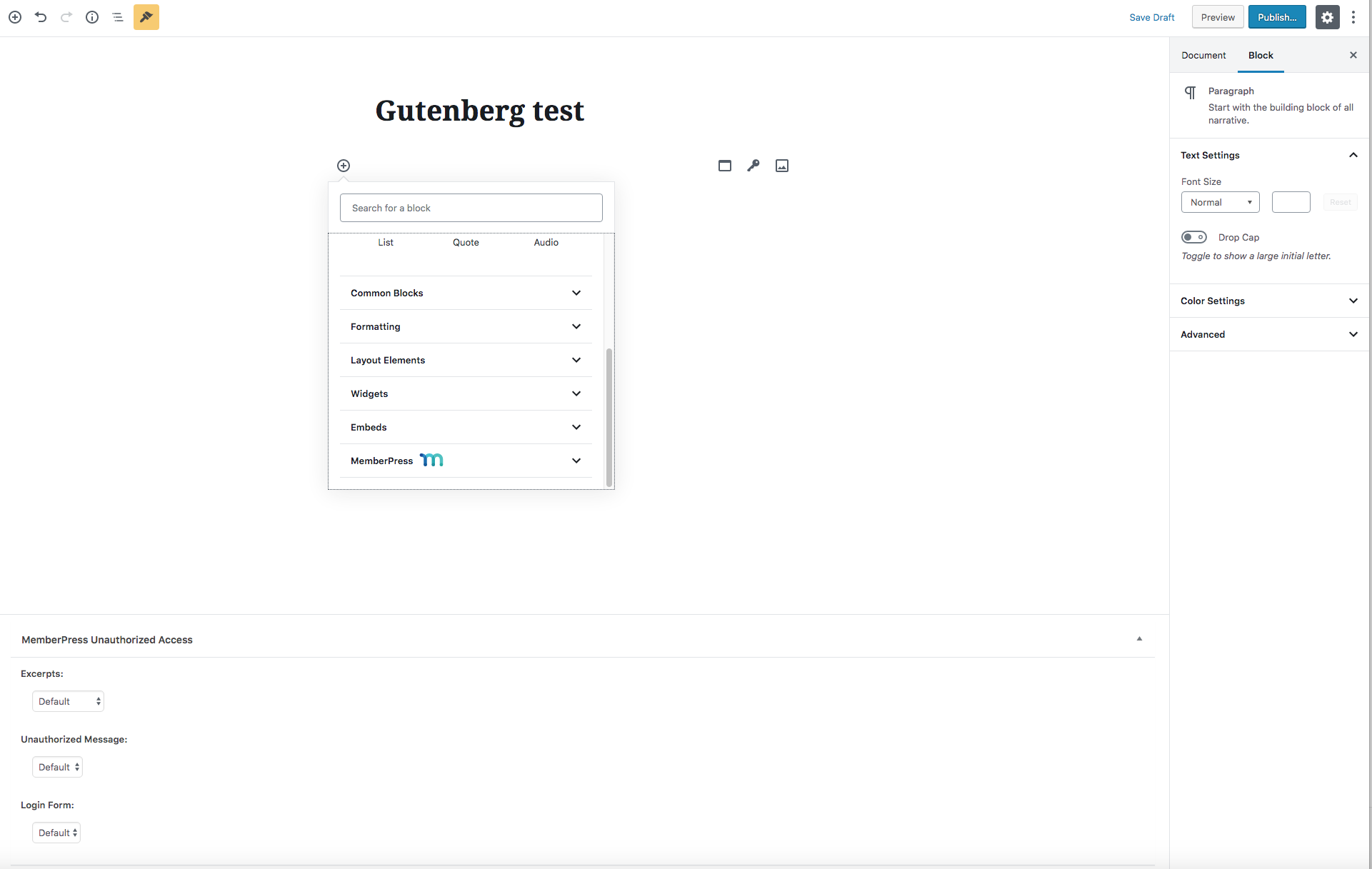 Available Gutenberg Blocks - MemberPress User Manual