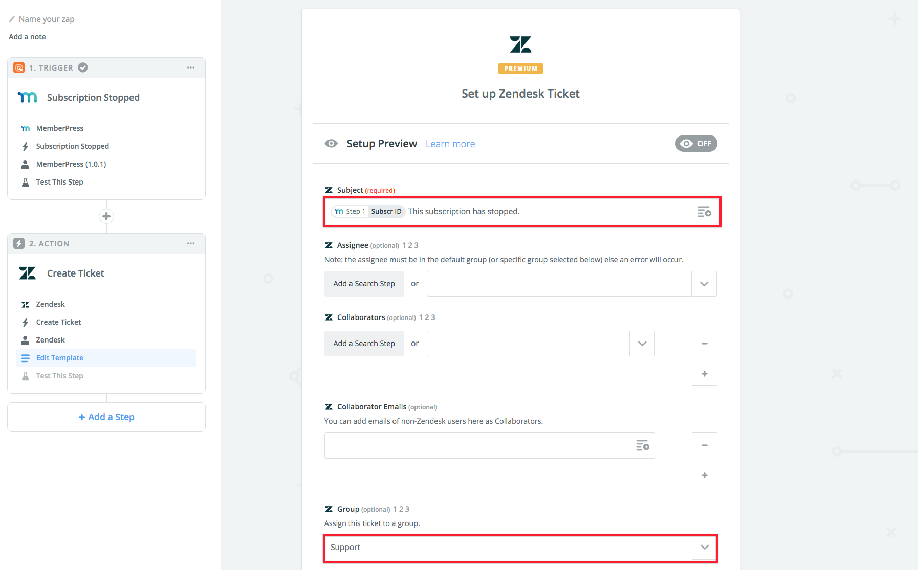Send follow up ticket for stopped Subscription with Zendesk (Zapier