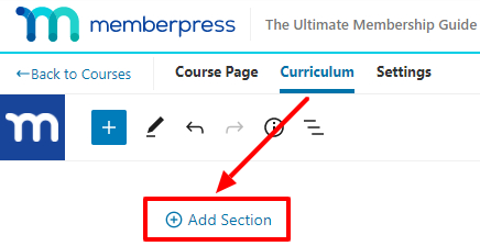 memberpress courses section