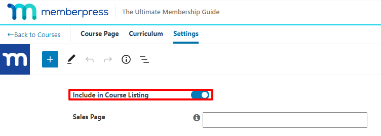 Course listing settings