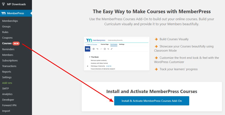 install memberpress courses