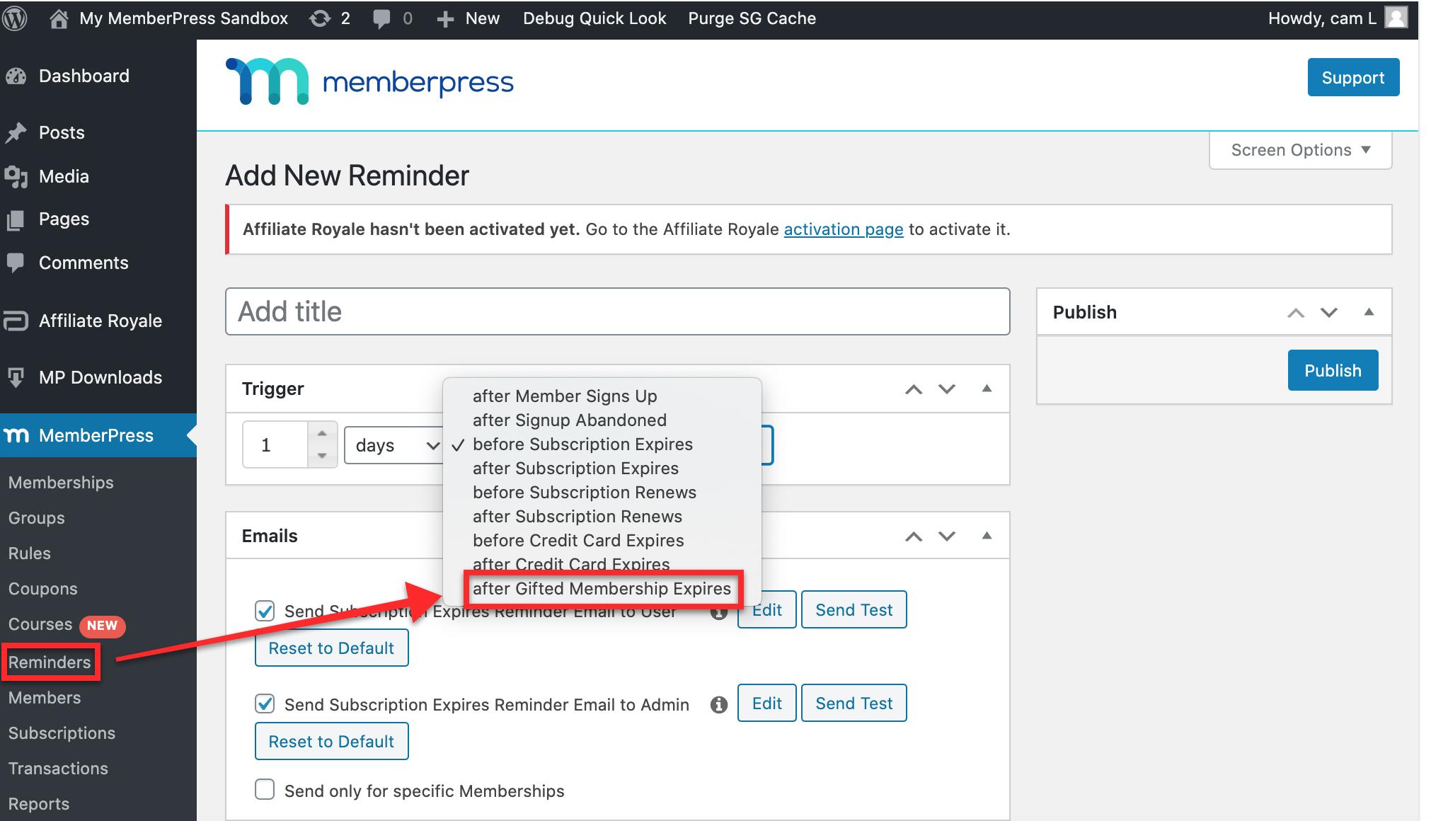Expiry Reminder for MemberPress