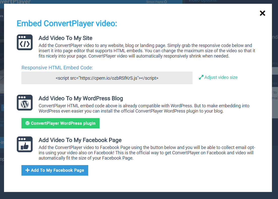 How to use ConvertPlayer embed code on WordPress without