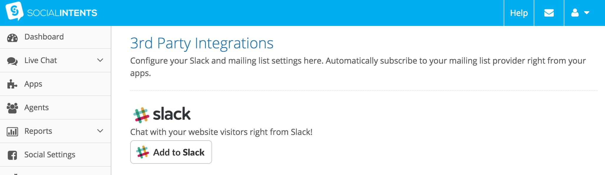 Slack Integration Set Up - Social Intents Knowledge Base