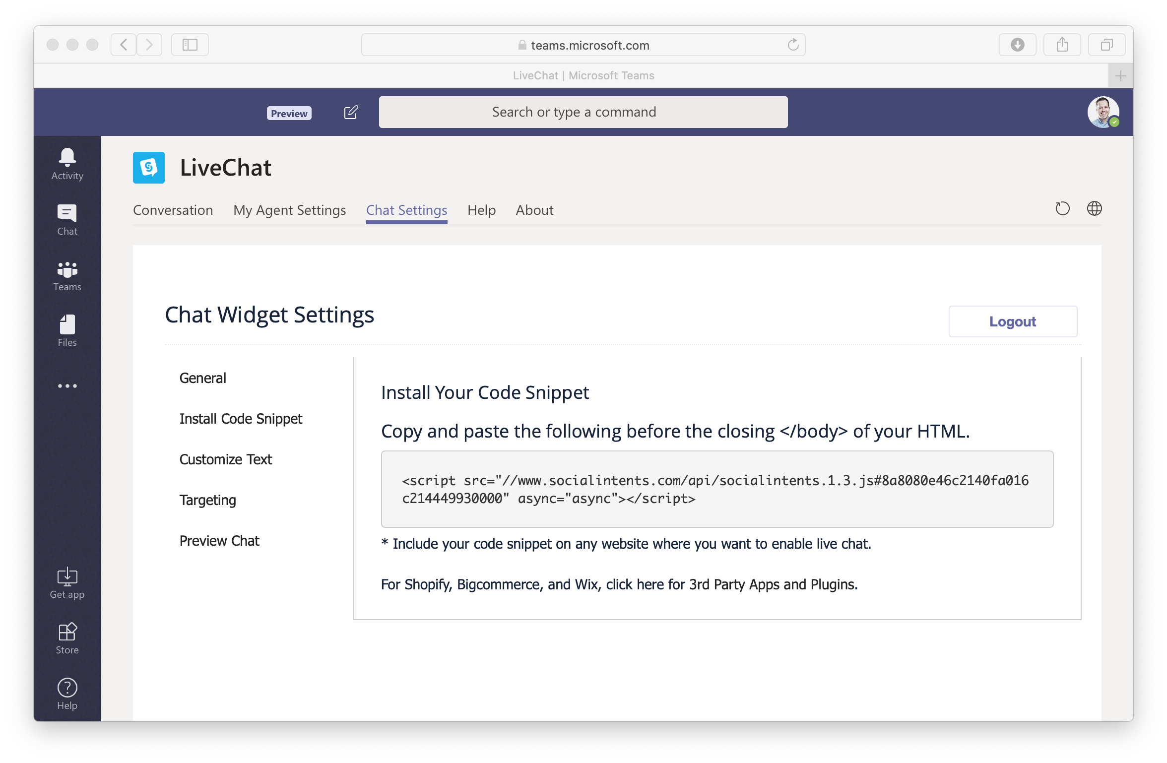 Live Chat for Microsoft Teams Code Snippet