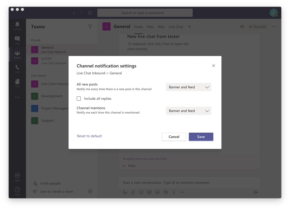 Turn on notifications in Microsoft Teams
