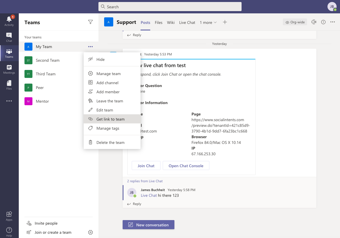 Tenant Id - Get Link to Microsoft Teams