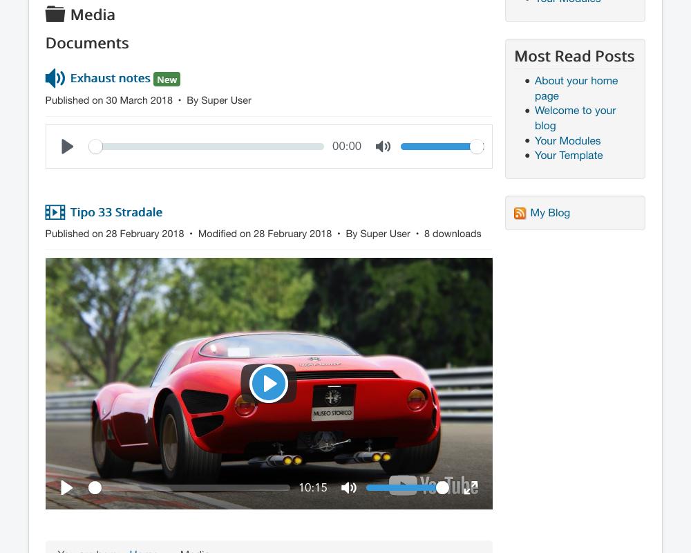 Play video and audio files - Joomlatools Knowledge Base