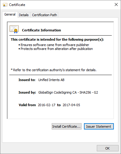 Checking driver certificate - Unified Remote Help