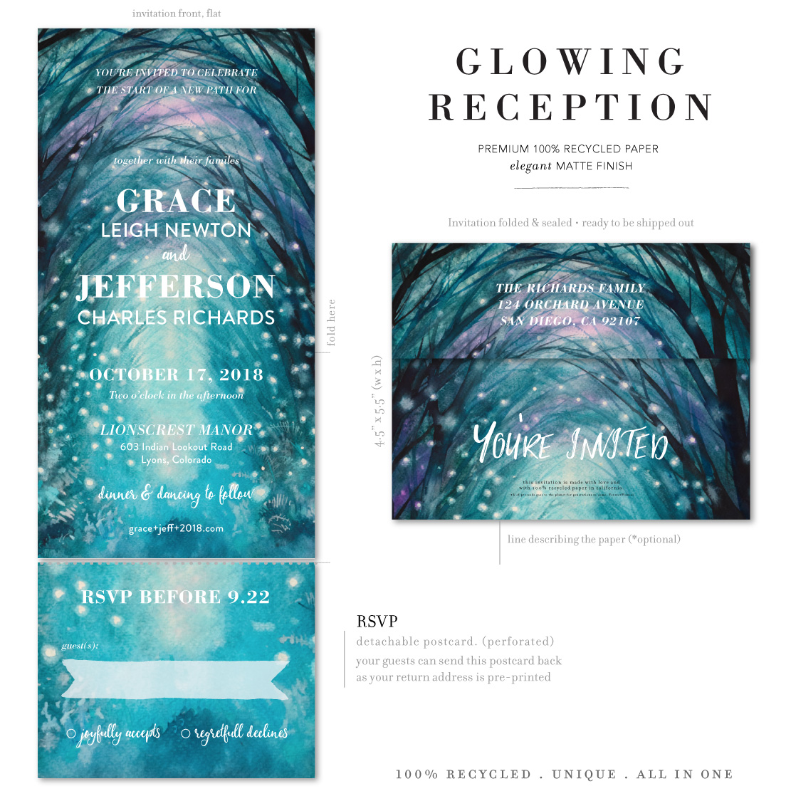 Glowing Reception whimsical winter invitations