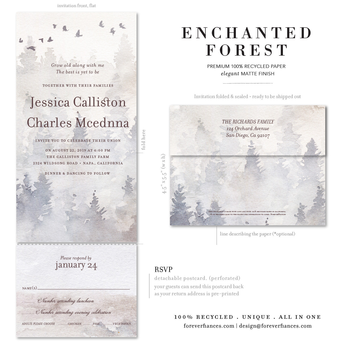 enchanted forest winter wedding invitations