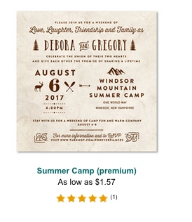 summer camp windsor mountain wedding invitations