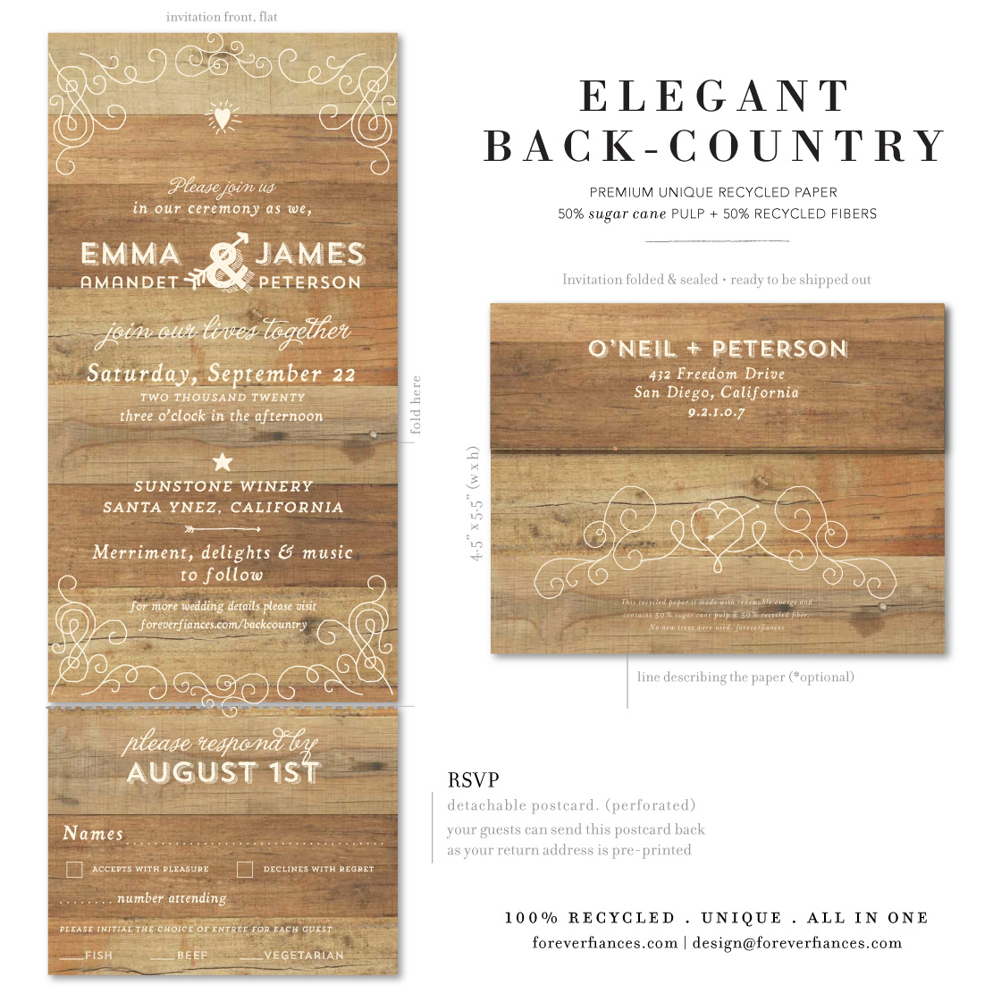 elegant back country rustic invitations