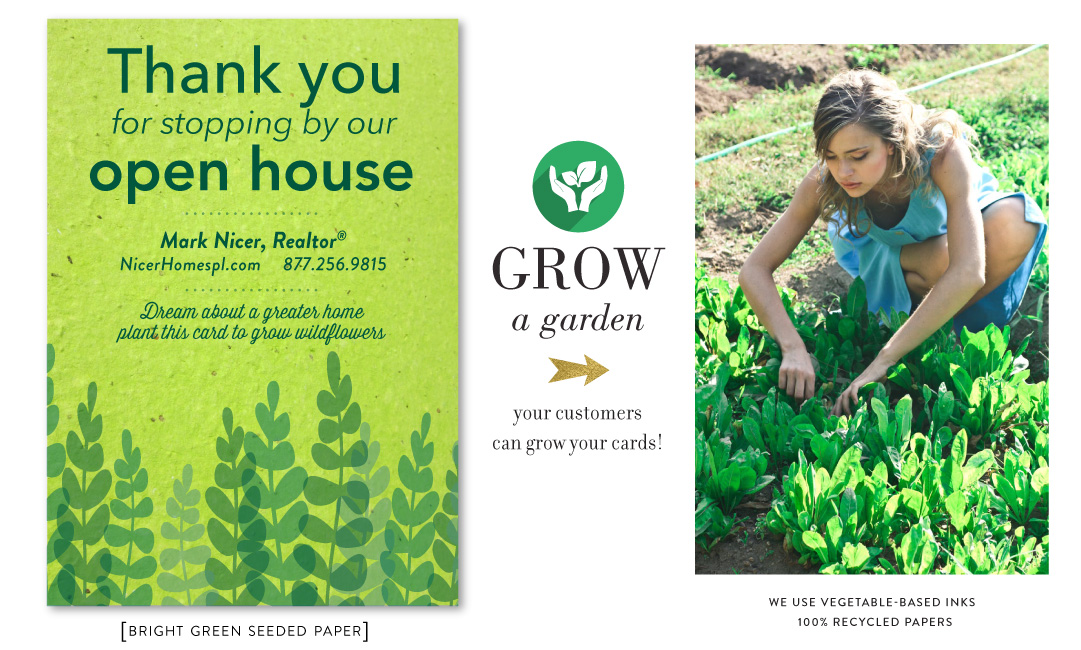 green open house cards for realtors