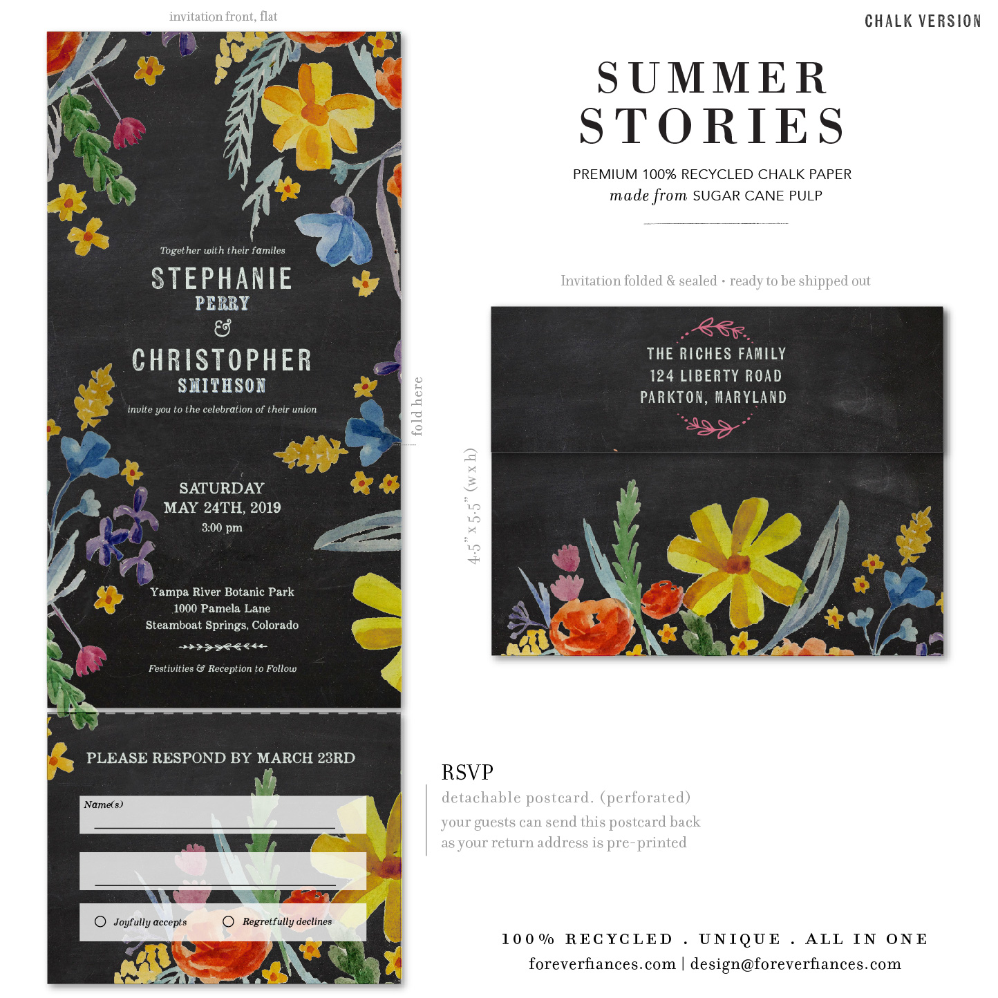 summer stories wedding invitations chalk version