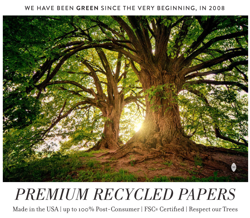 exclusive 100% recycled papers