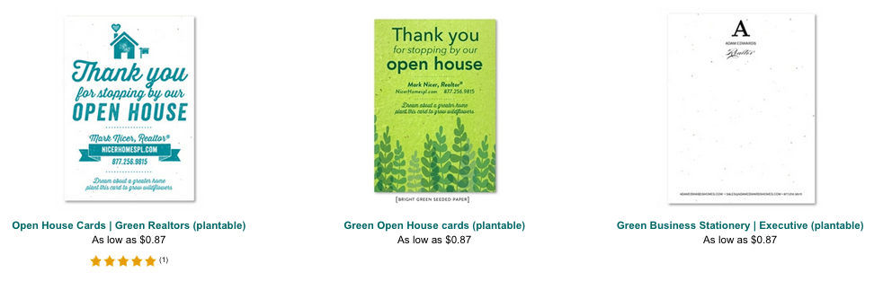 example of open house cards on seeded paper