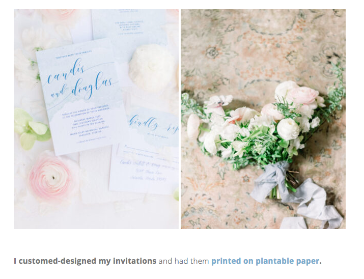custom invitation on seeded paper