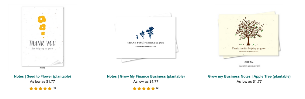 seeded paper thank you notes for business