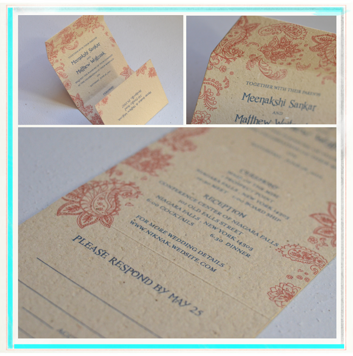 Indian Smile brown wedding invitations