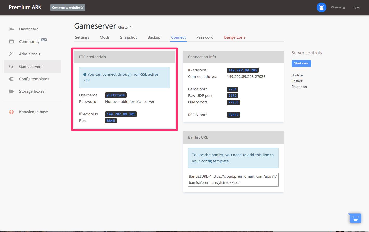 FTP connection - GameserverApp com Knowledge Base