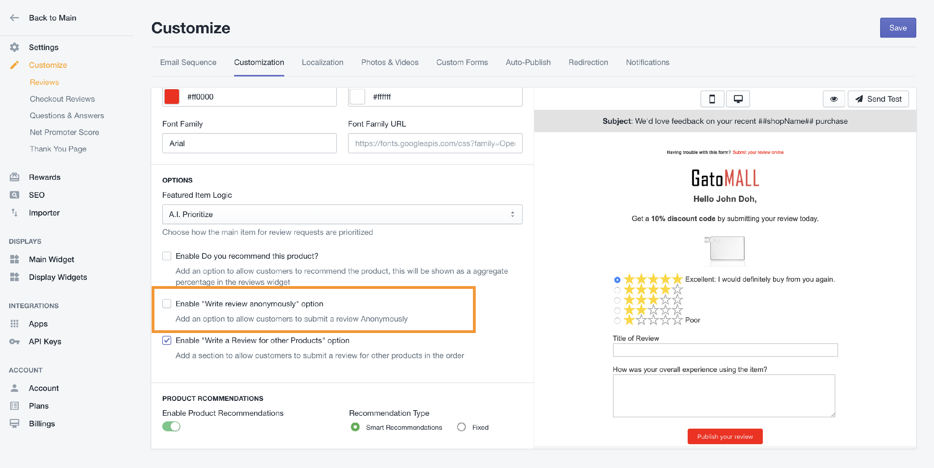 Reviews - Enable / Disable Anonymous Review from Customer