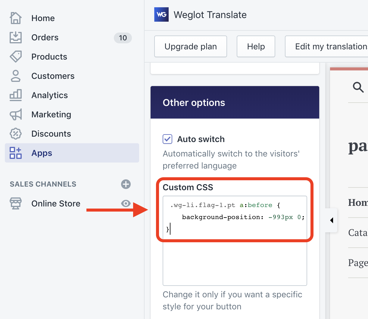Shopify - Design - How can I change the flags of the