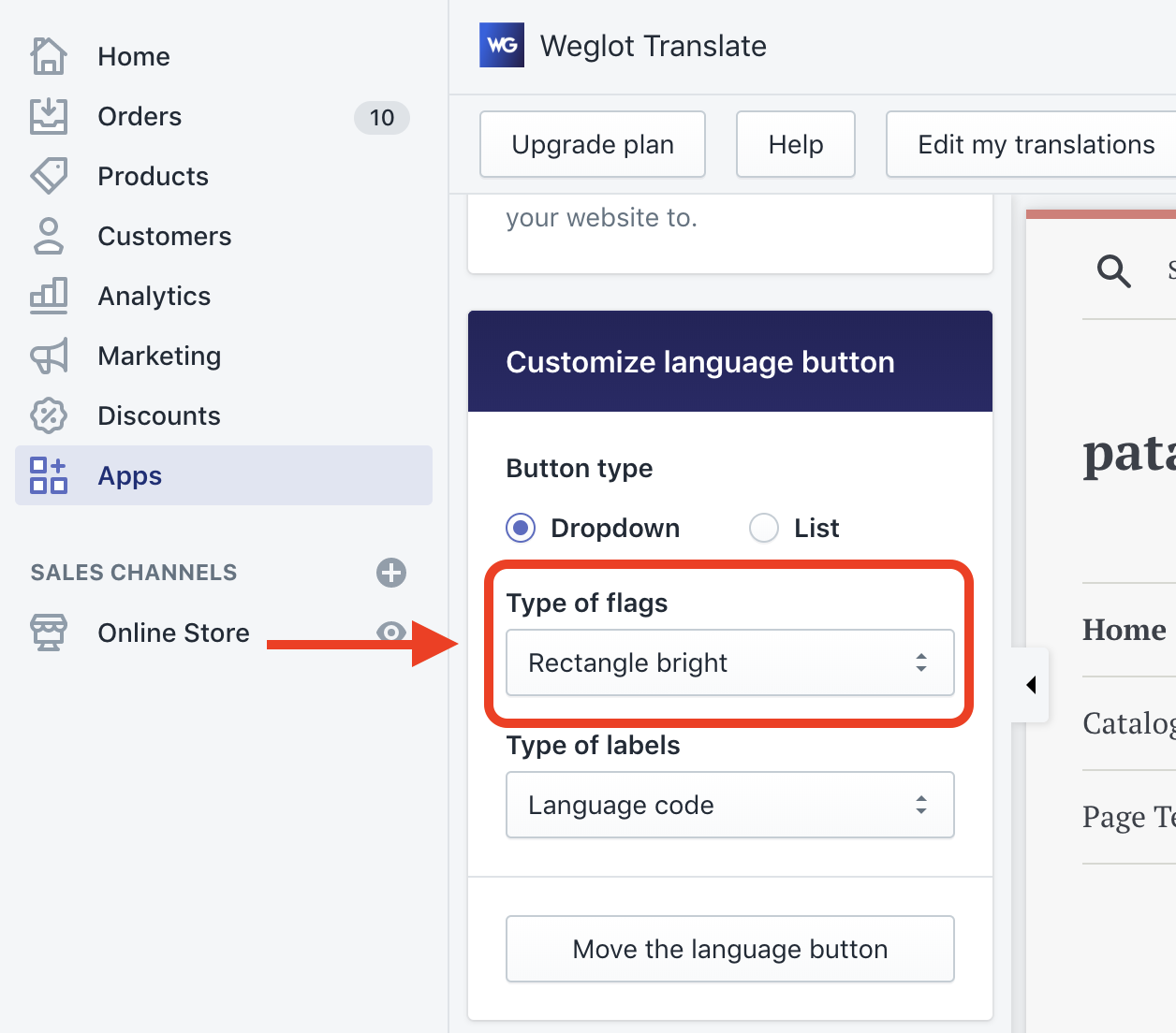 Shopify - Design - How can I change the flags of the language button