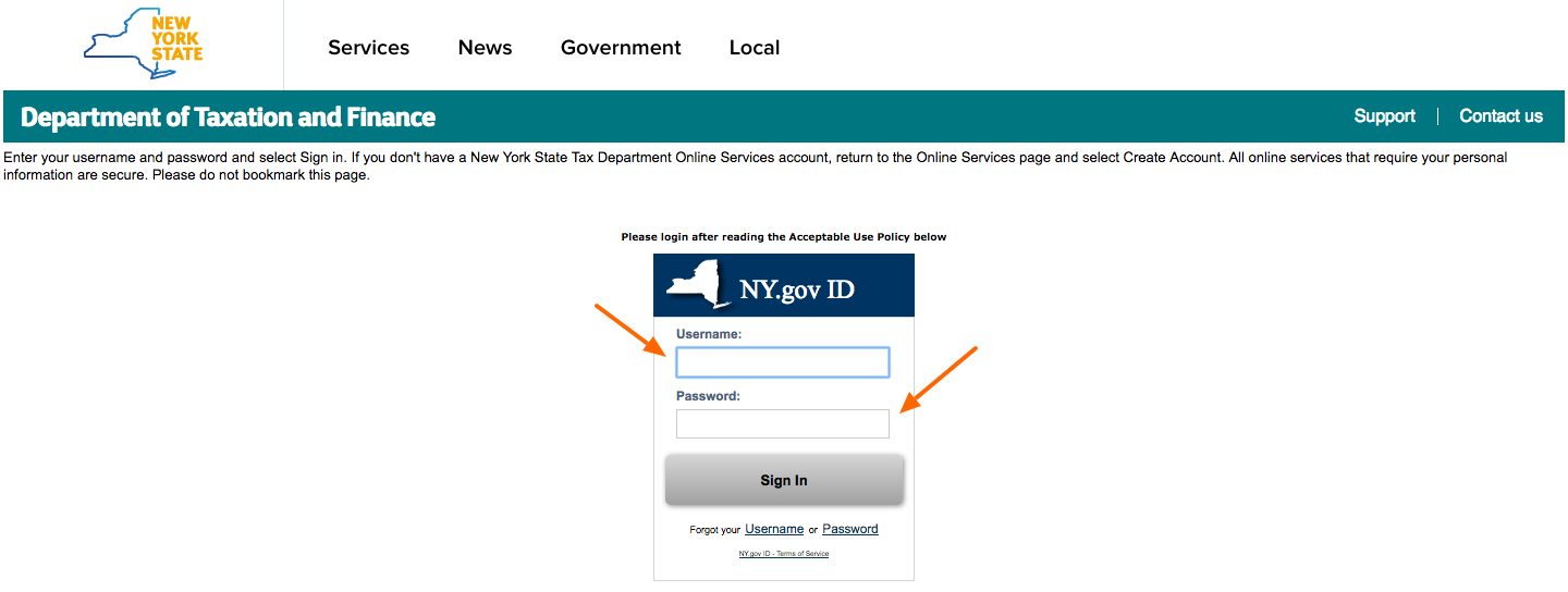 What Is The Sales Tax In New York >> New York What Is My State Login And Passcode Taxjar Support