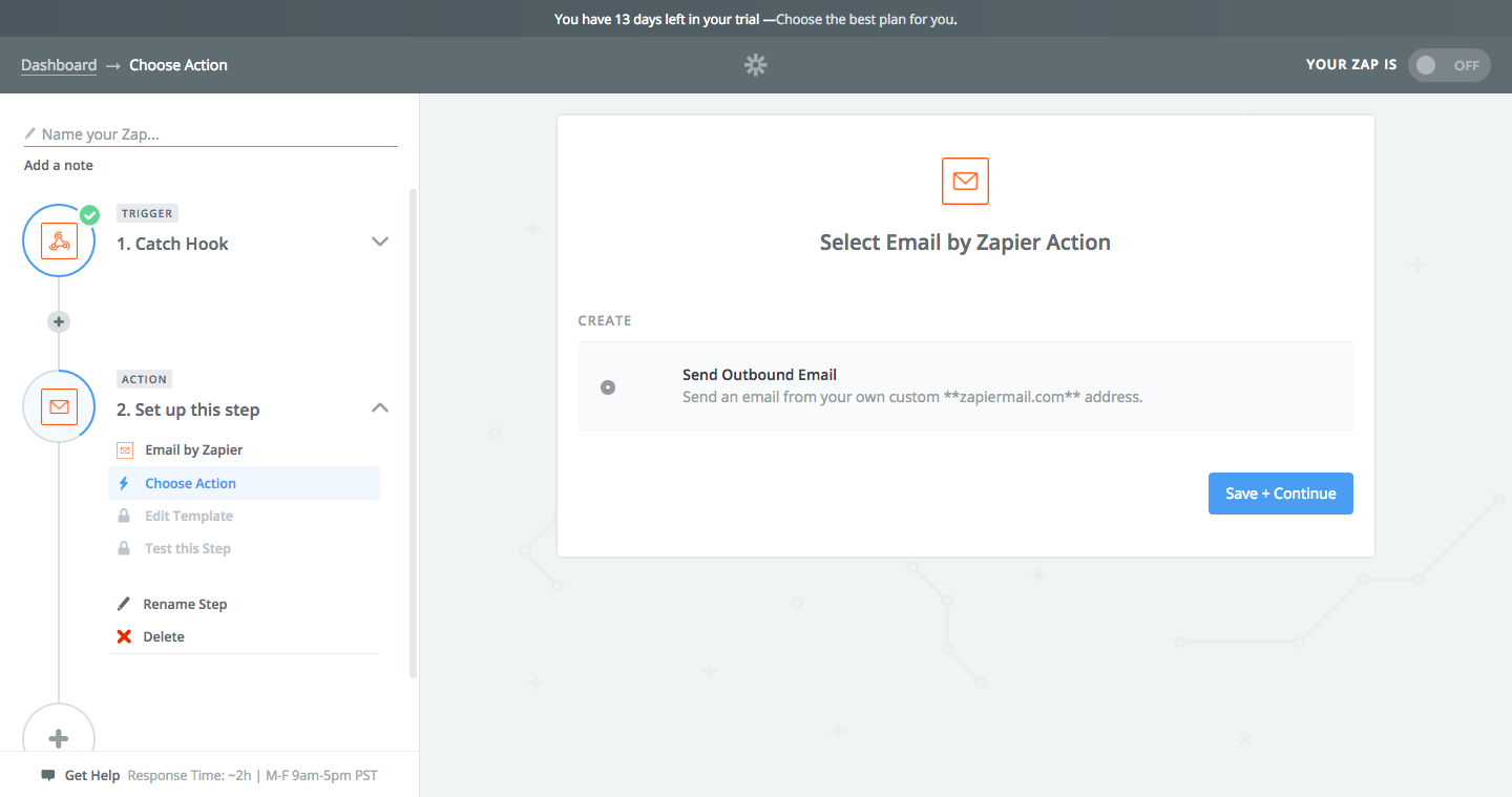 Choosing email template in Zapier