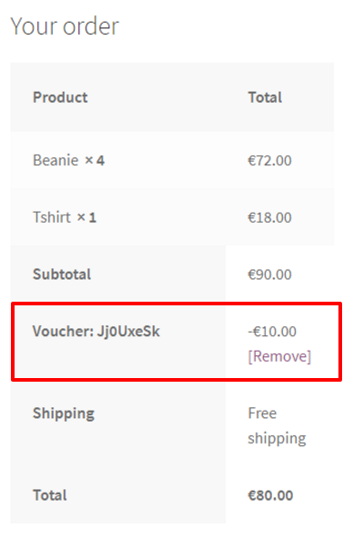 Applied discount on WooCommerce site