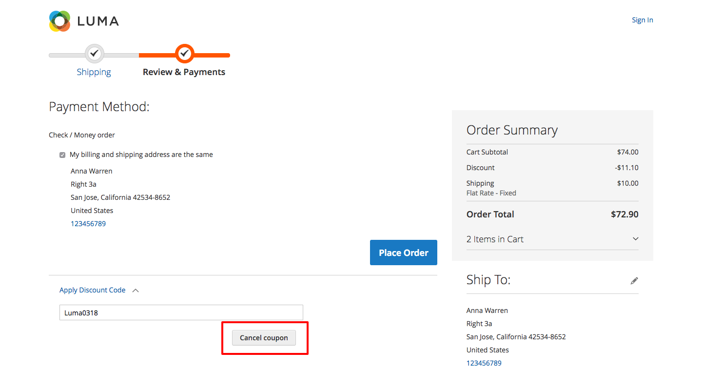 Cancelling coupon in Magento by end-user