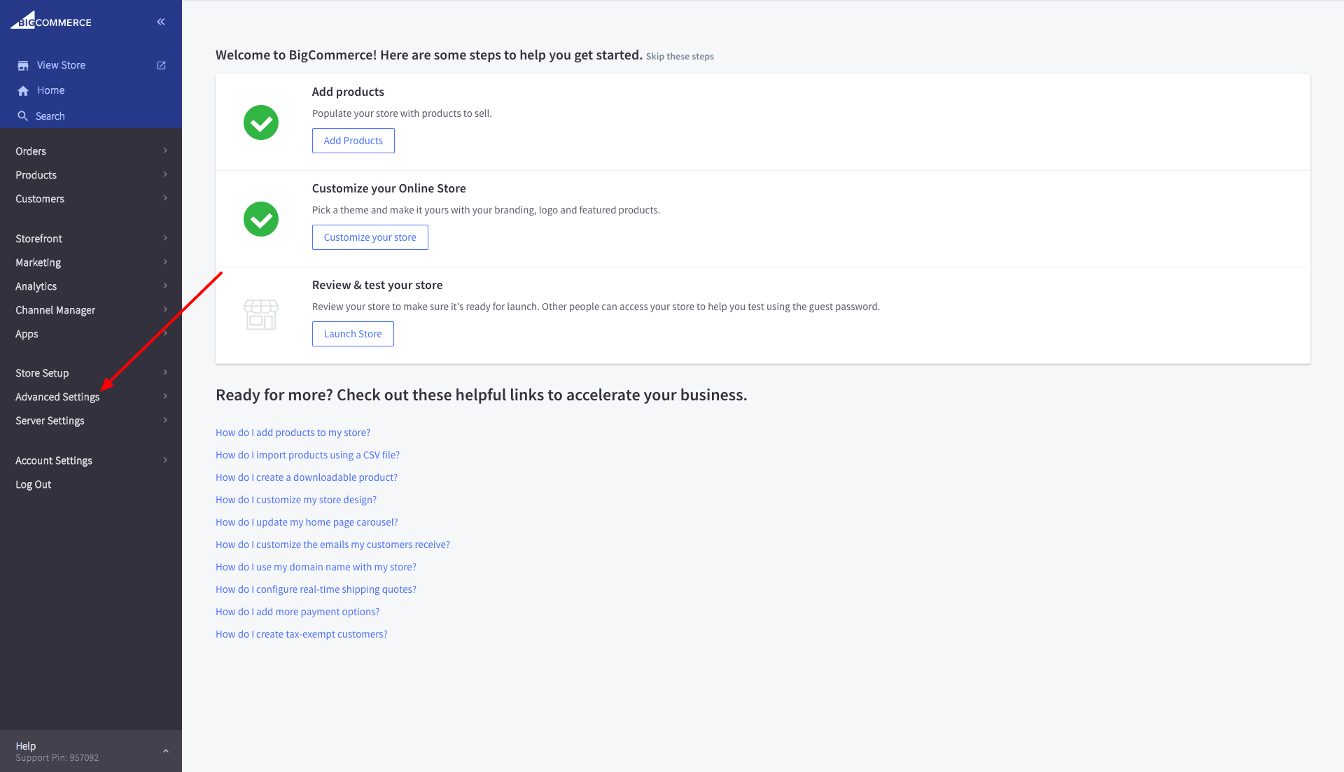 BigCommerce Advanced Settings
