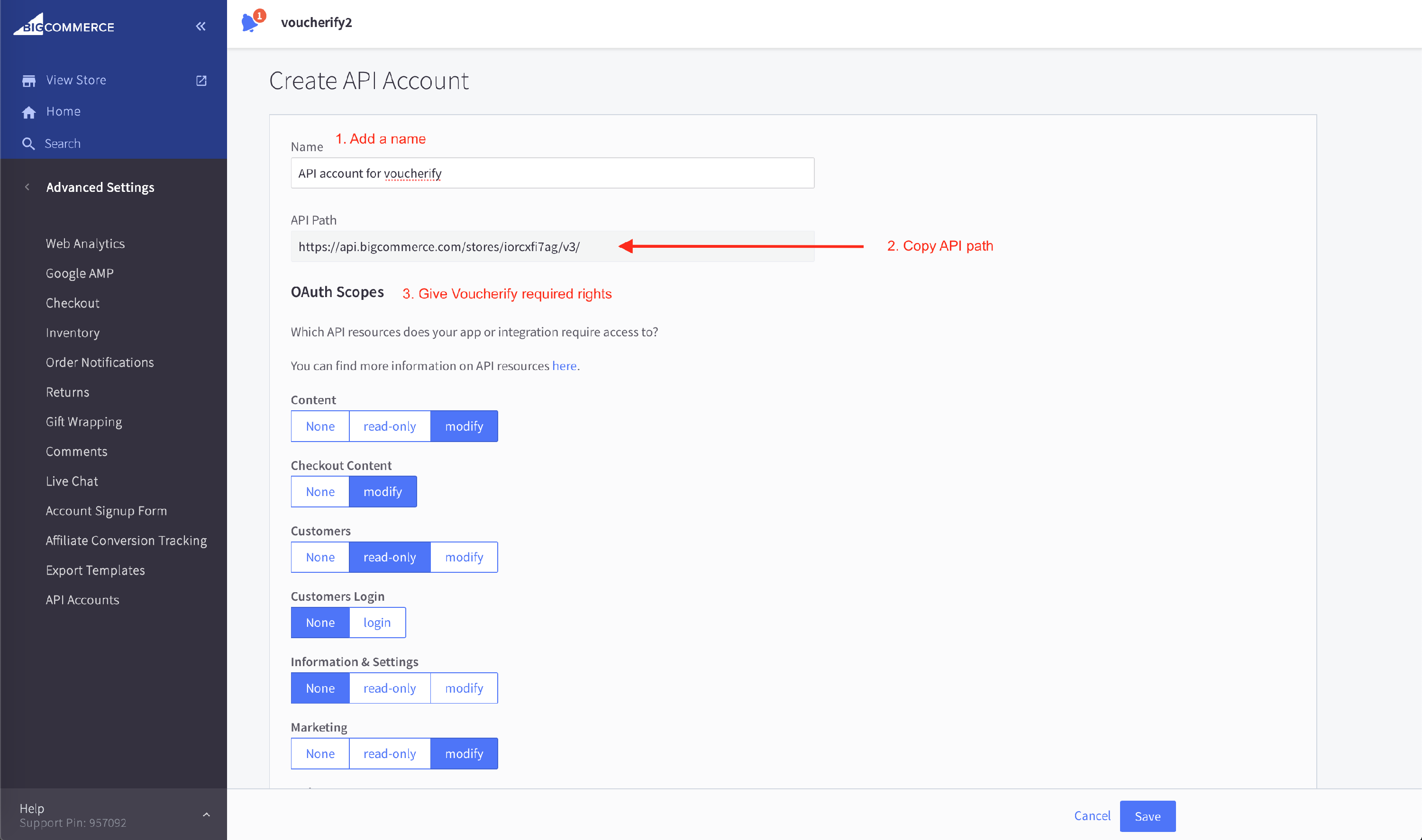 Creating API account for BigCommerce