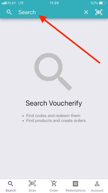 Search option Mobile App