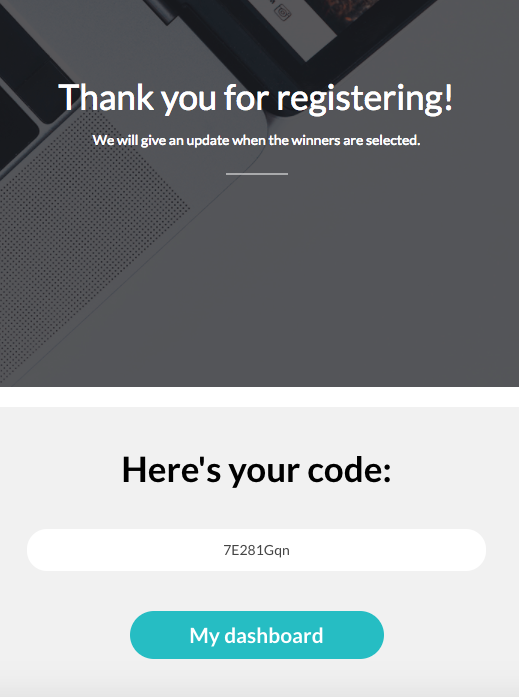 Users registering via a landing page