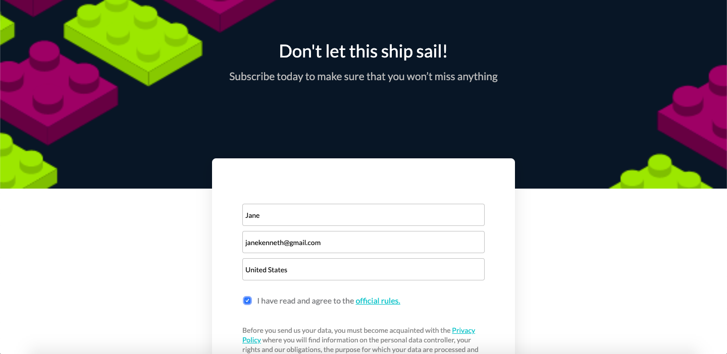 Landing Page - Fill in The form