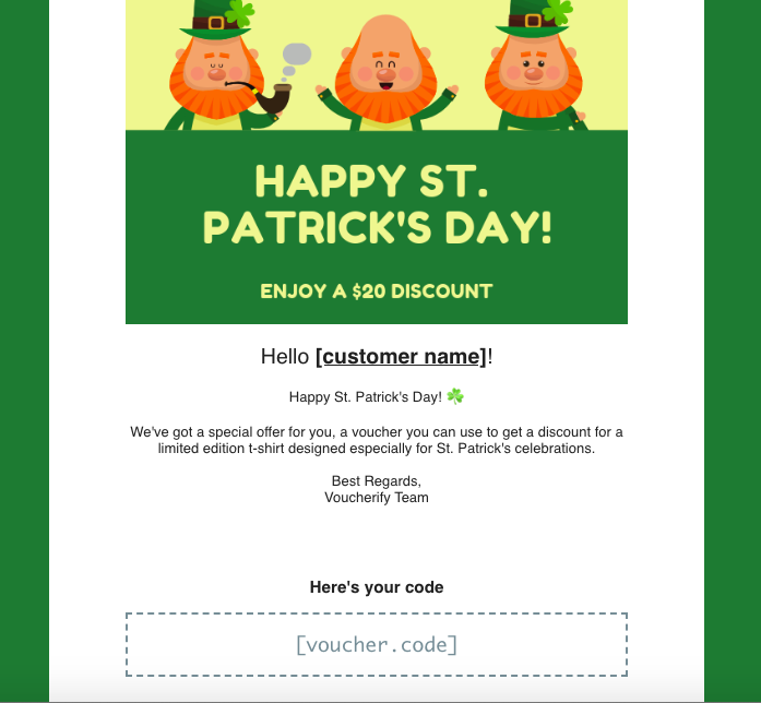 Example of an email message for Irish geo-located campaign