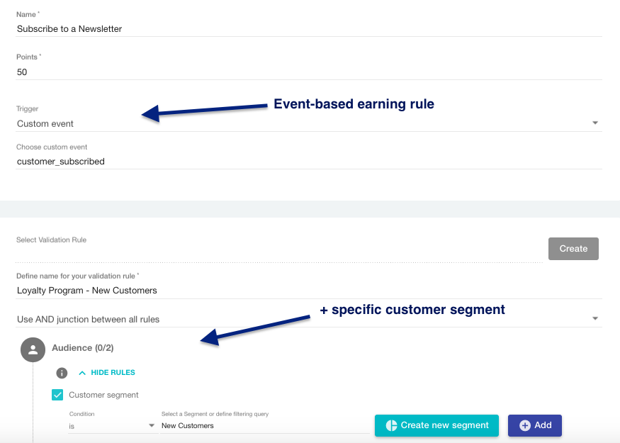 Event based earning rule and validation rule