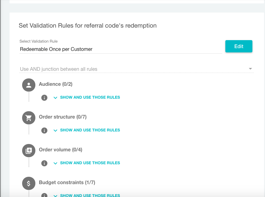 Validation rules in referral campaign