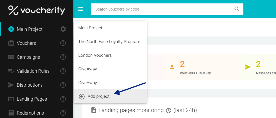 Adding New Project in Voucherify Dashboard