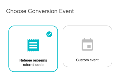 Referral program – conversion event