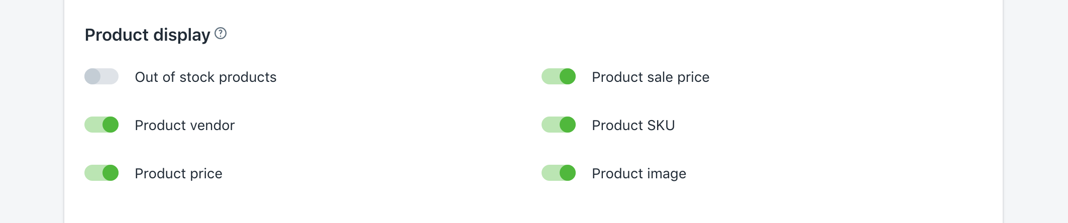 For Product vendor, Product price, Product sale price, Product SKU, and Product image, turn on/off the suitable options to enable or disable these displays in a product Instant search result.