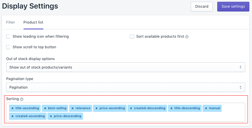 Go to the Product list tab, then update values of Sorting as you want like add/remove or drag & drop to update its order