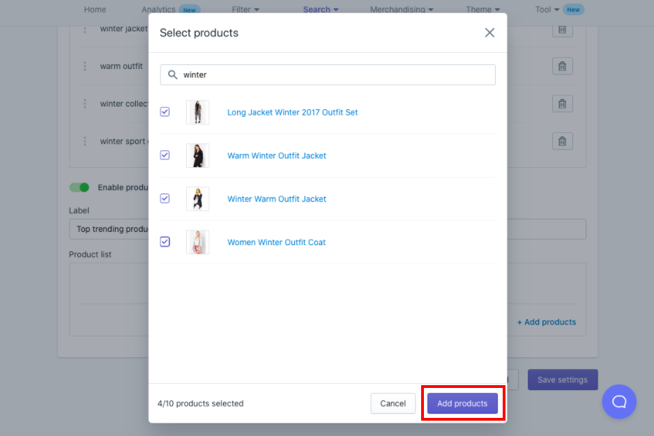 Select the button + Add products and search or select products from the list. When done, select the button Add products.
