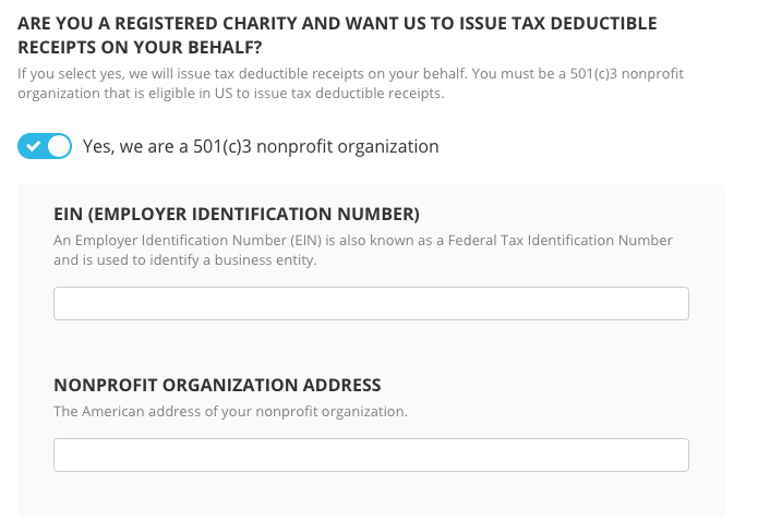 Tax deductible receipts for us charities chuffed support scroll to the are you a registered rharity and want us to issue tax deductible receipts on your behalf tick the tick box and enter your ein and negle Images